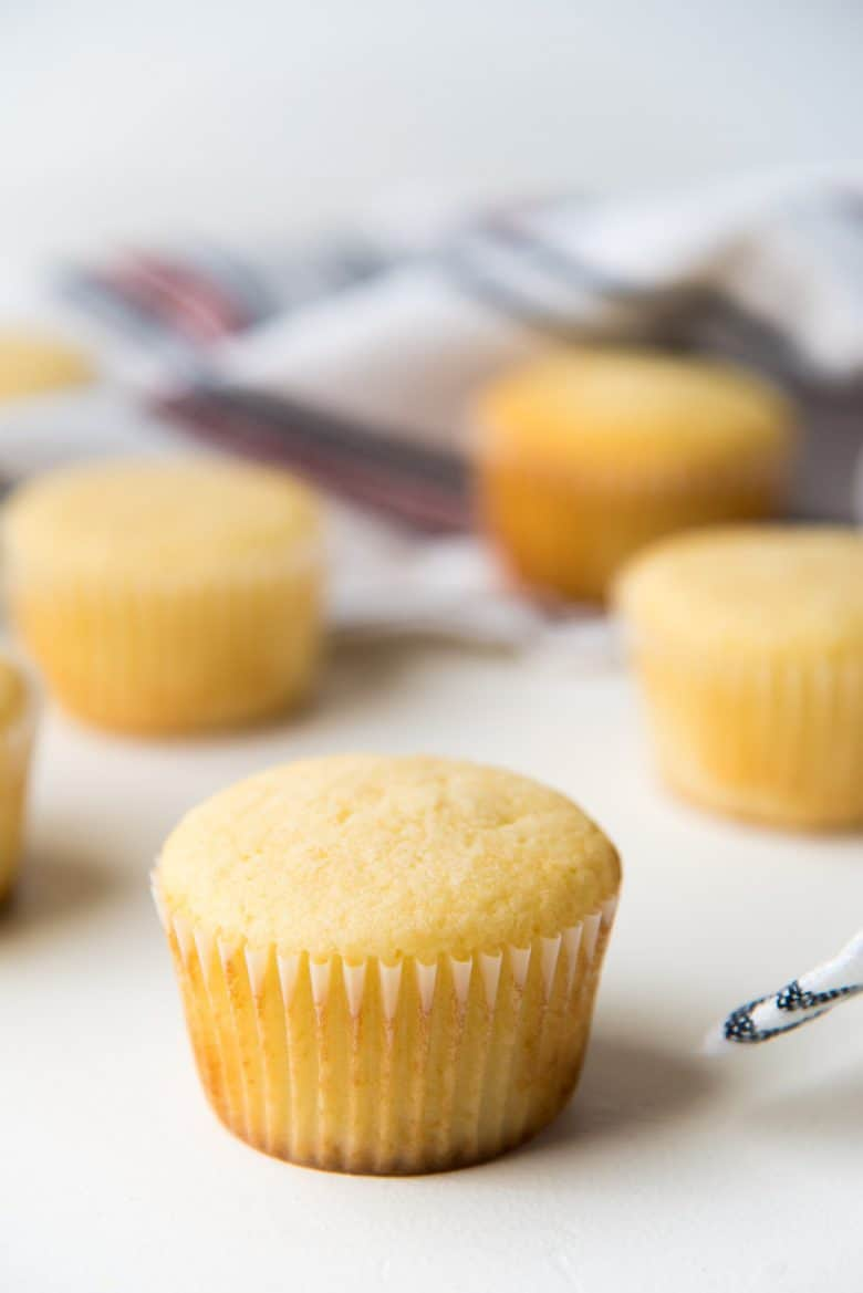 Unfrosted vanilla cupcakes