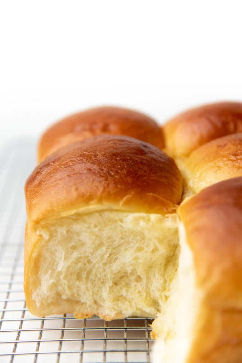 Hokkaido milk bread dinner rolls inside