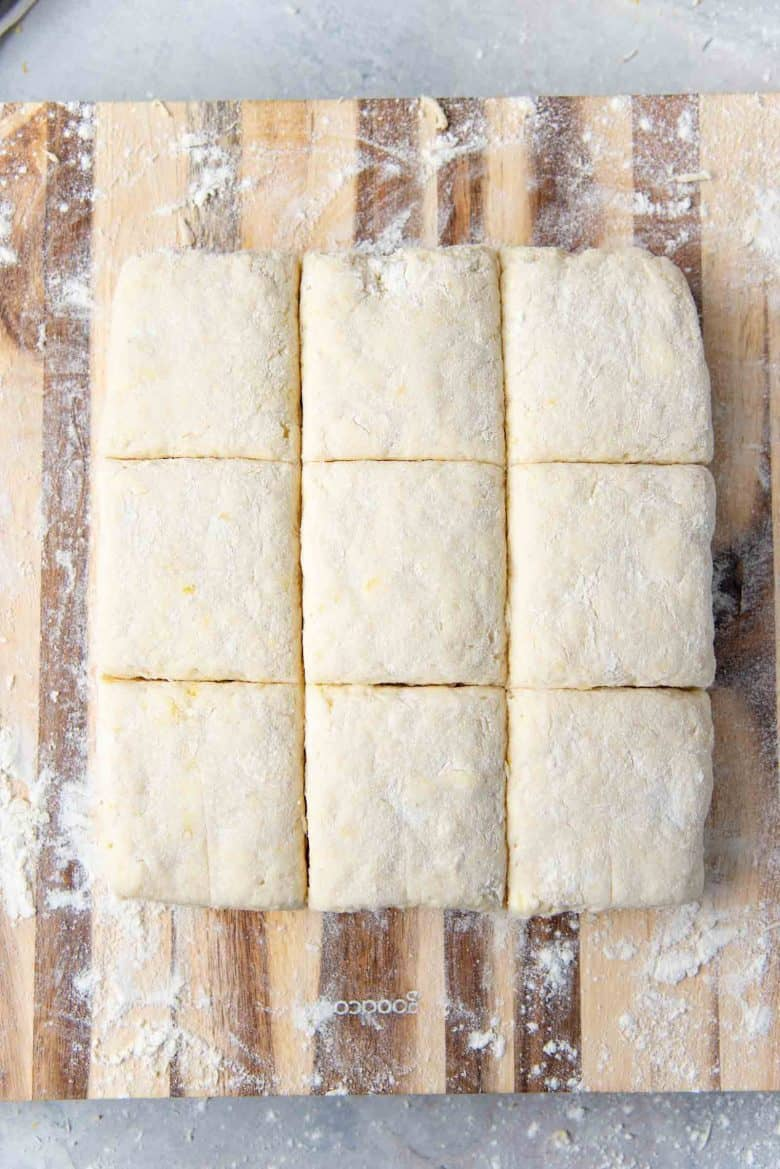 Shortcake dough cut into 9 pieces