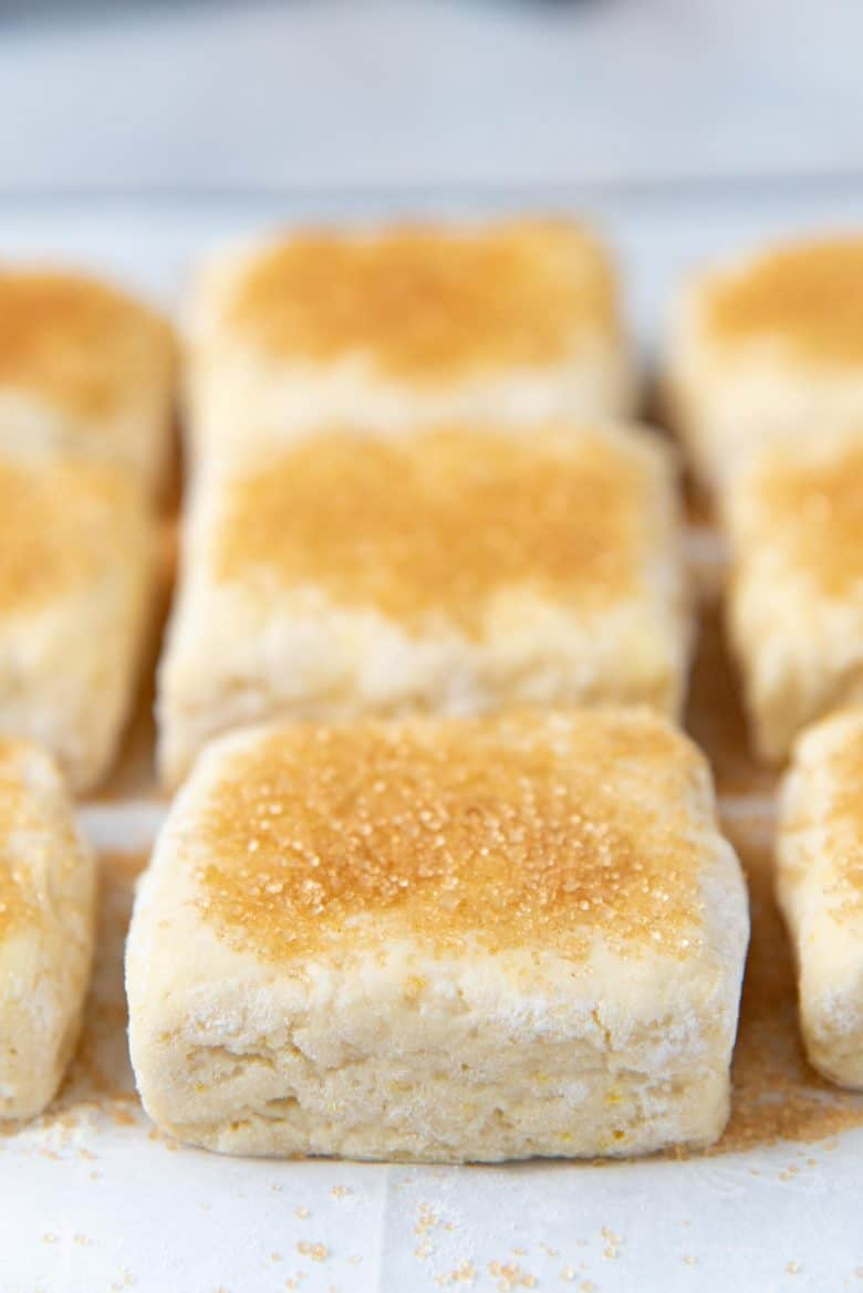 Shortcakes brushed with milk and topped with sugar