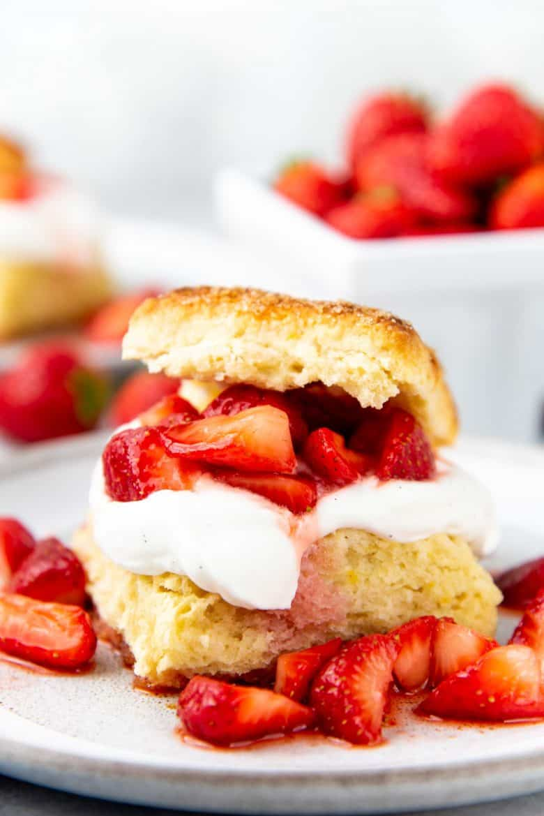 A close up of the Strawberry shortcake