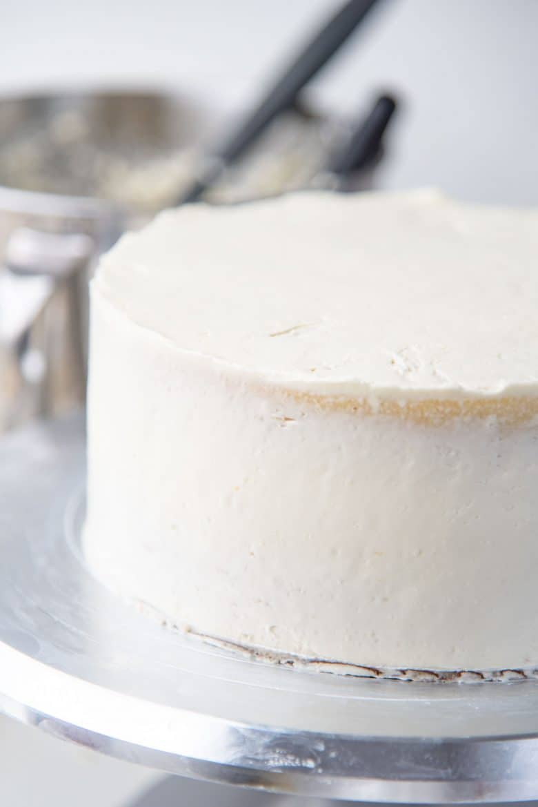Crumb coated 2 layer white cake
