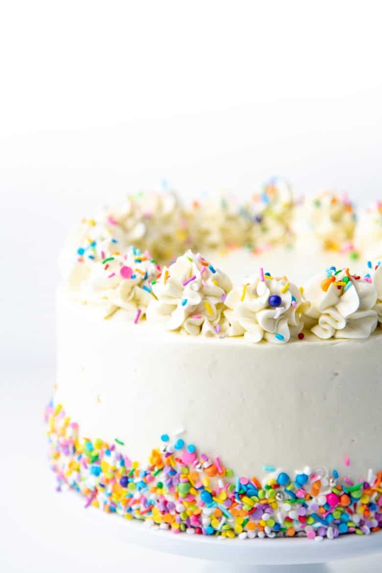 White cake close up with funfetti sprinkles