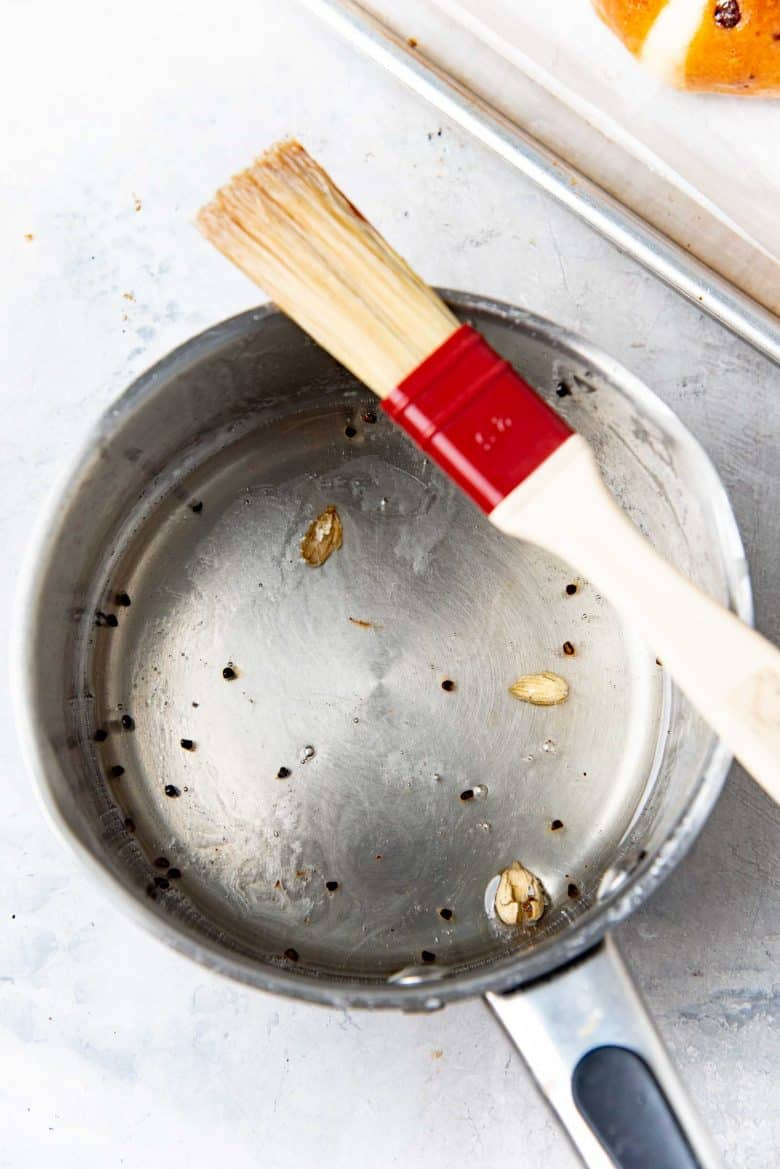 Spiced glaze mix in a saucepan