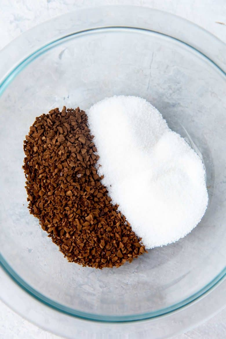 Dalgona coffee topping - Instant coffee and sugar in a glass bowl