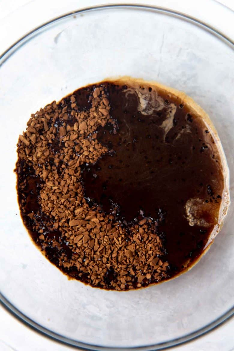 Coffee and sugar dissolving in hot water