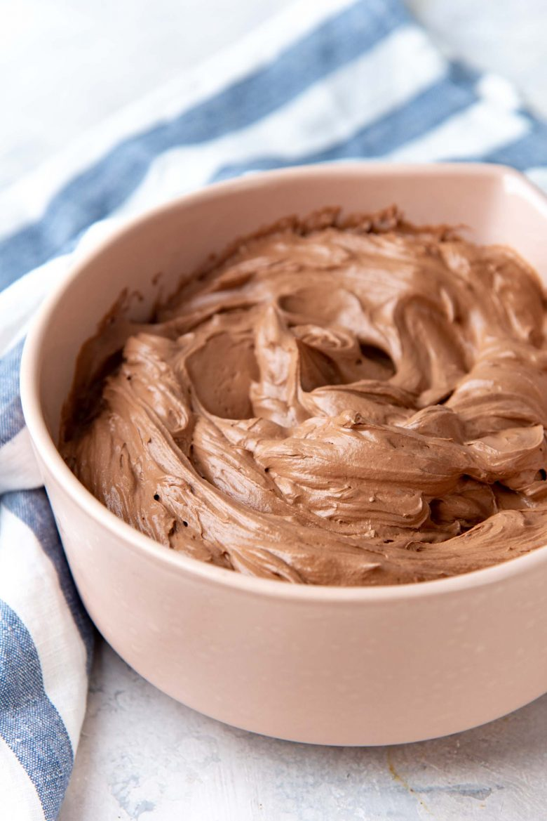 Chocolate swiss meringue buttercream in a bowl