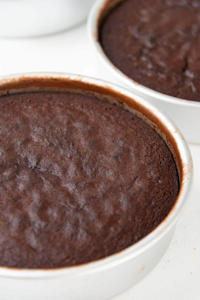 Freshly baked cake layers, made from the devil's food cake recipe, still in the cake pans