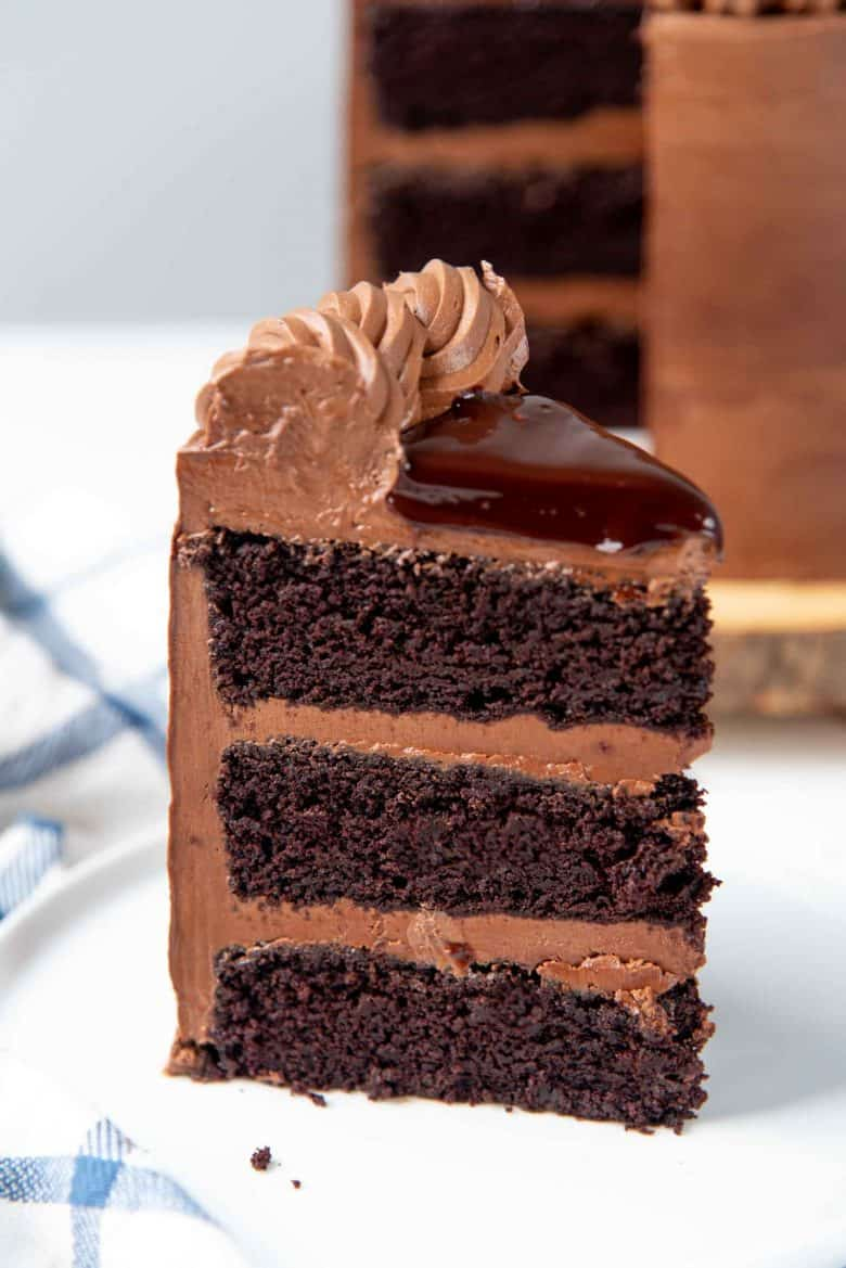 A close up of a three layer devil's food cake slice on a small white plate