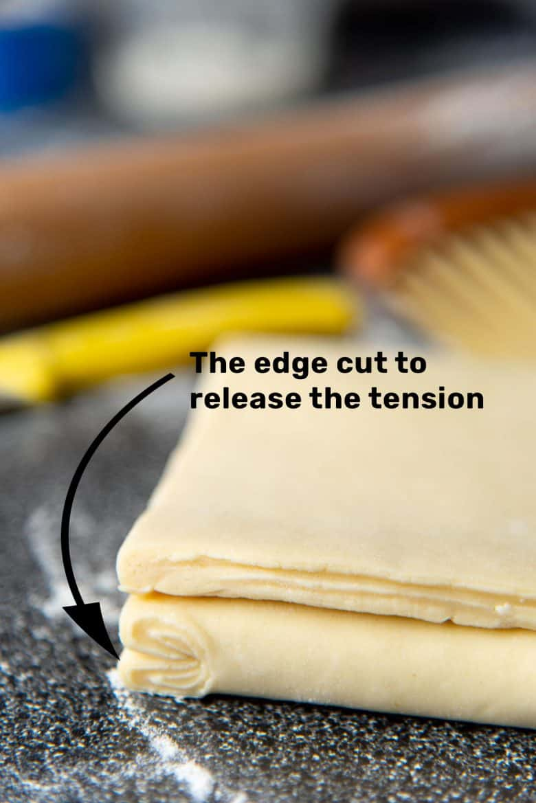 Cutting the edge of the dough