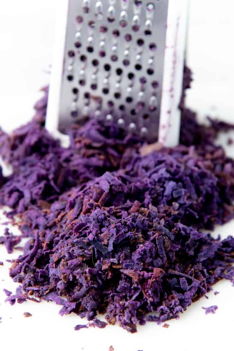 Grated purple sweet potatoes