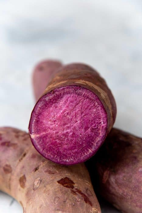 The inside of a purple sweet potato