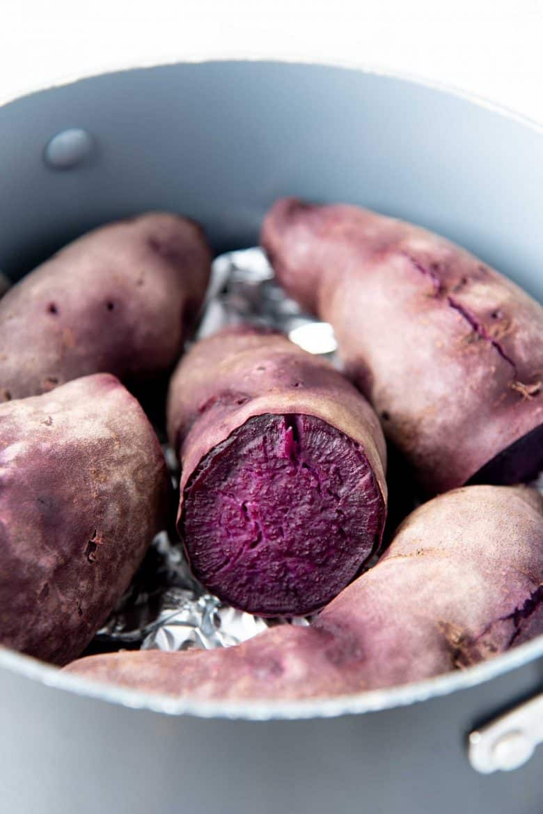 Cooked purple sweet potato