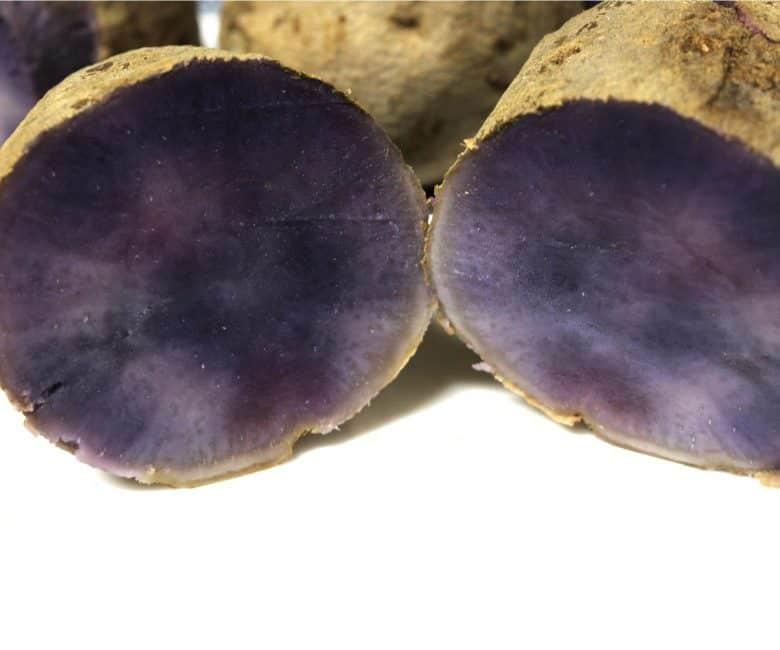 The inside of a cooked ube yam