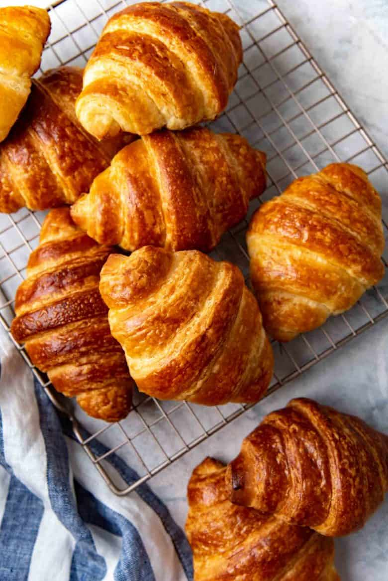 An overhead view of croissants to make croissant bread pudding