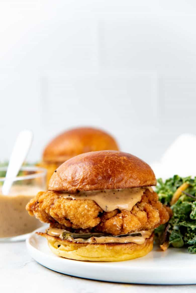 A close up of the fried chicken sandwich