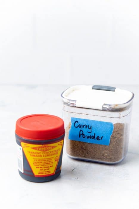 Tamarind and homemade Sri Lankan Curry powder