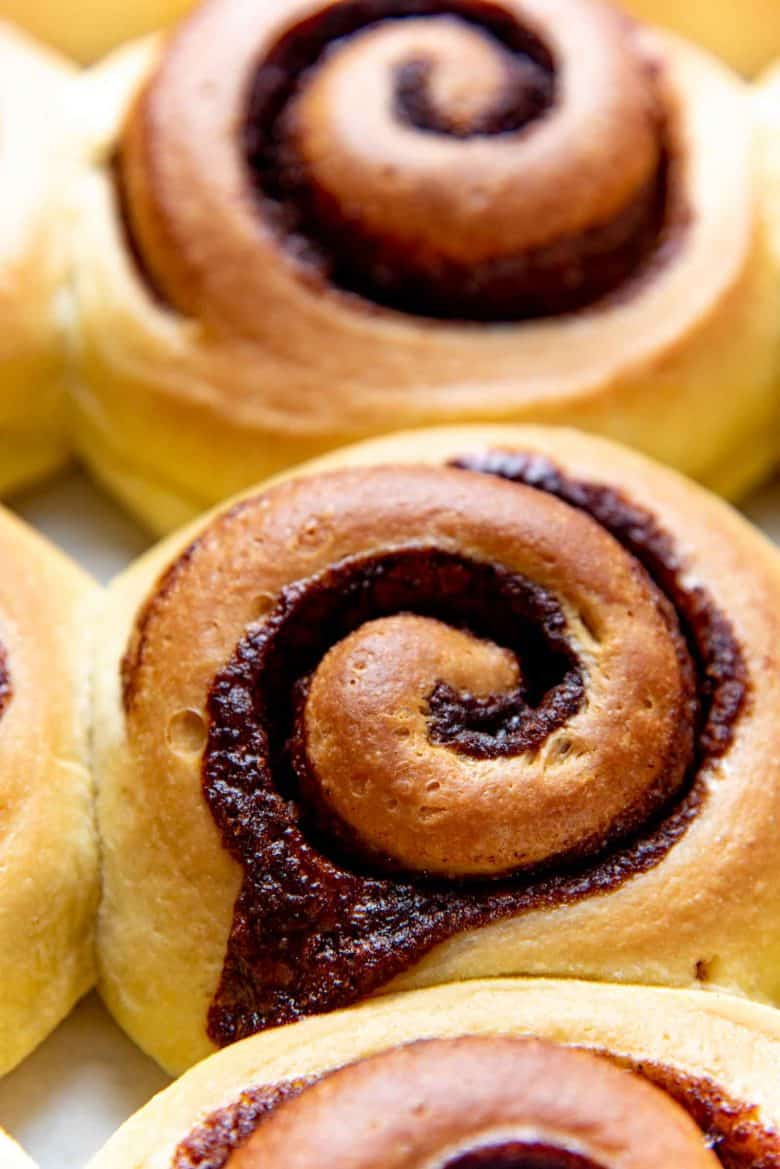 close up of a cinnamon roll