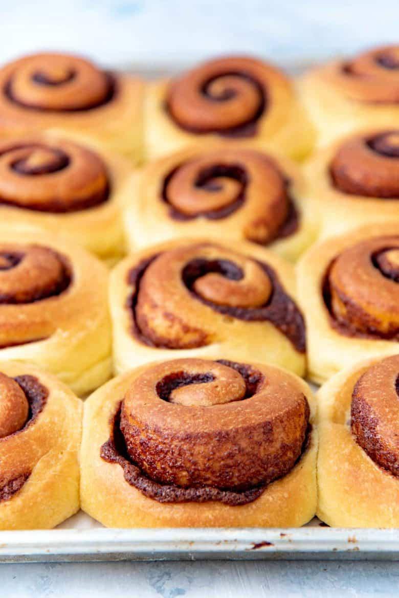 Freshly baked brioche cinnamon rolls