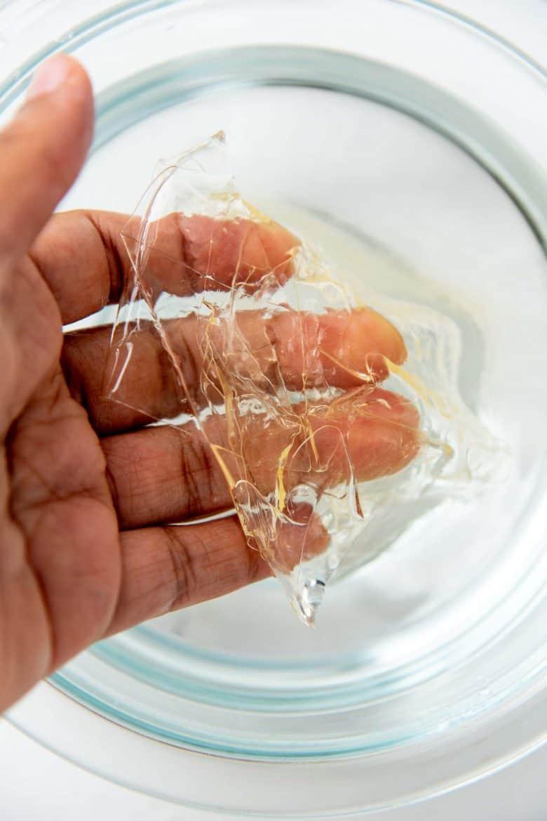 Leaf gelatin softened
