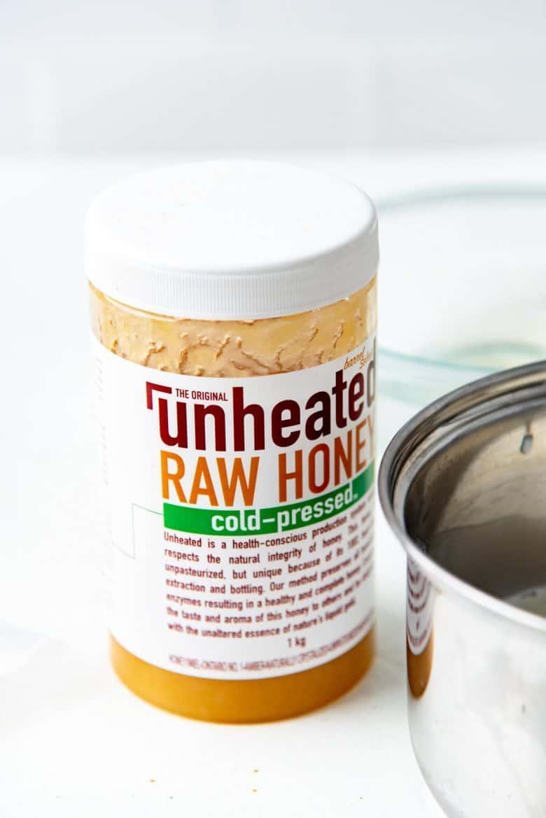 Raw unheated honey used for panna cotta dessert
