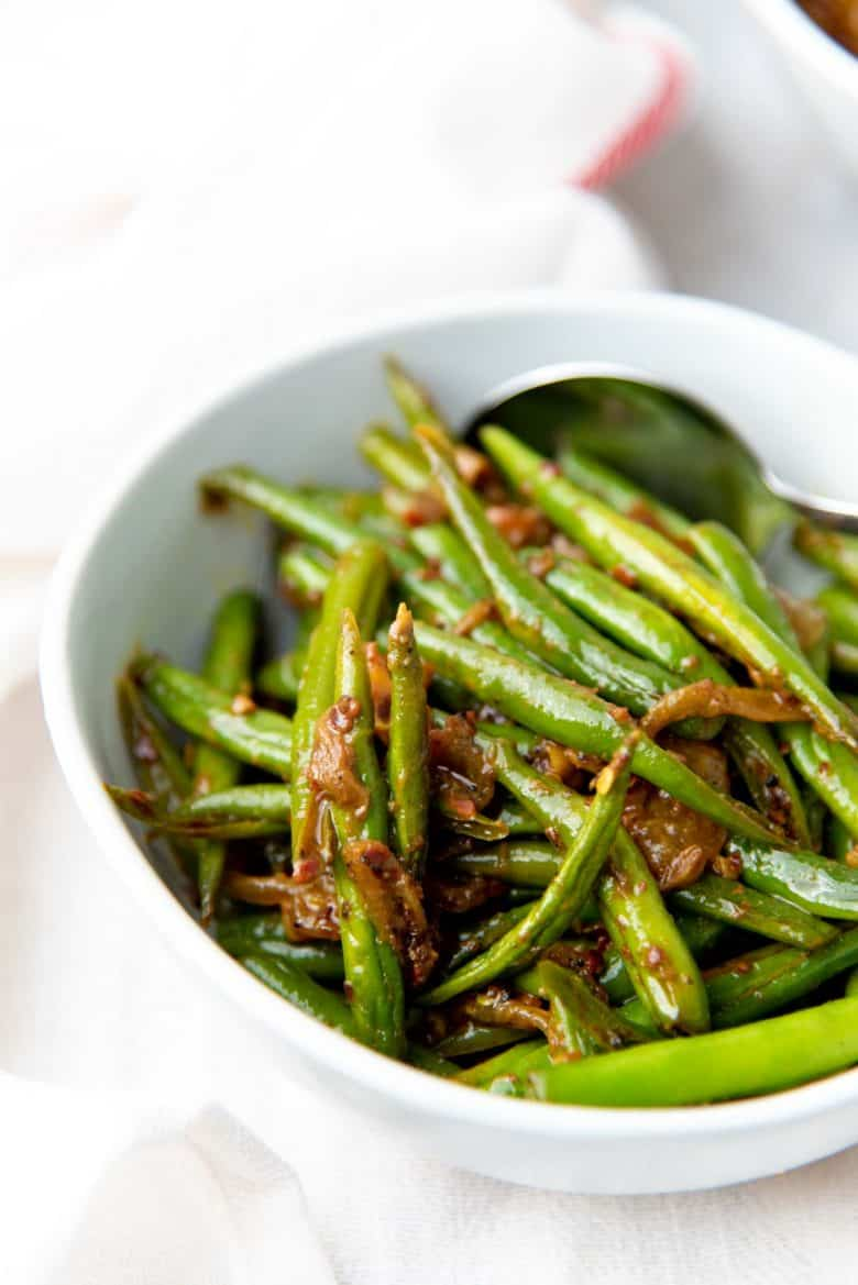 A close up of the curried green bean stir fry