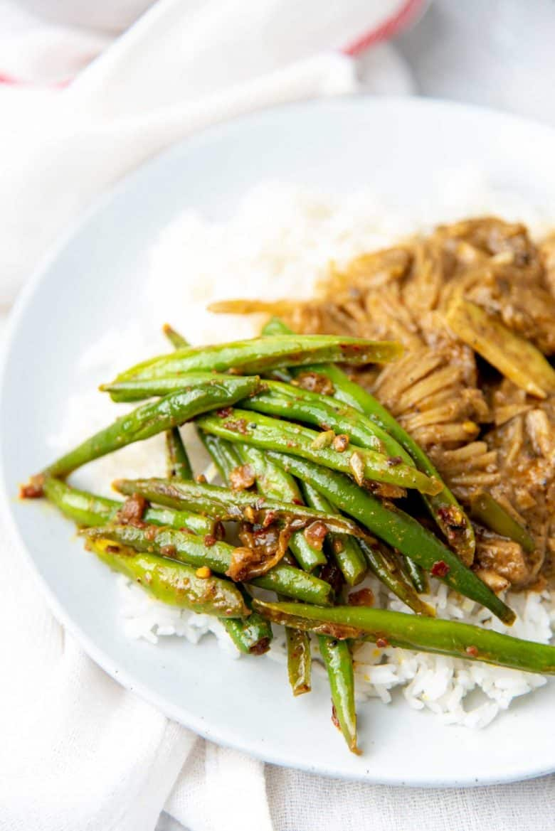 Sri Lankan stir fried green bean served with jack fruit curry and rice