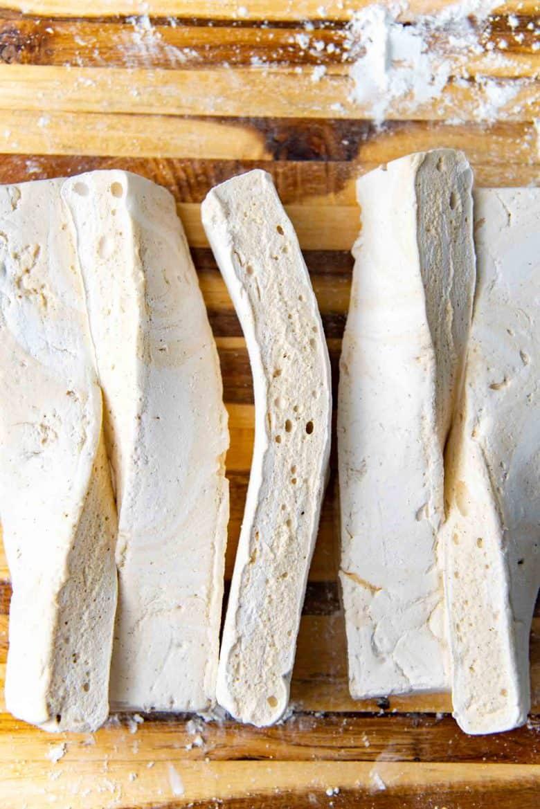 Strips of the tahini marshmallows on the cutting board
