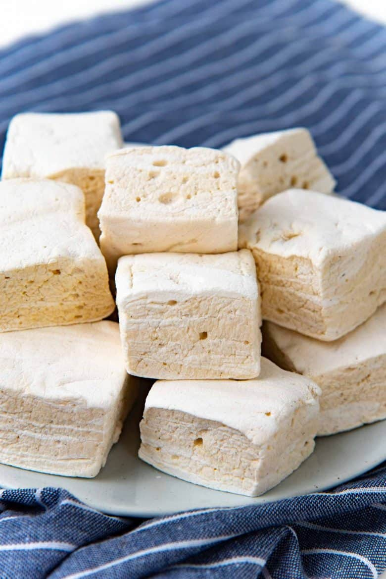 A close up of Tahini marshmallows on a plate