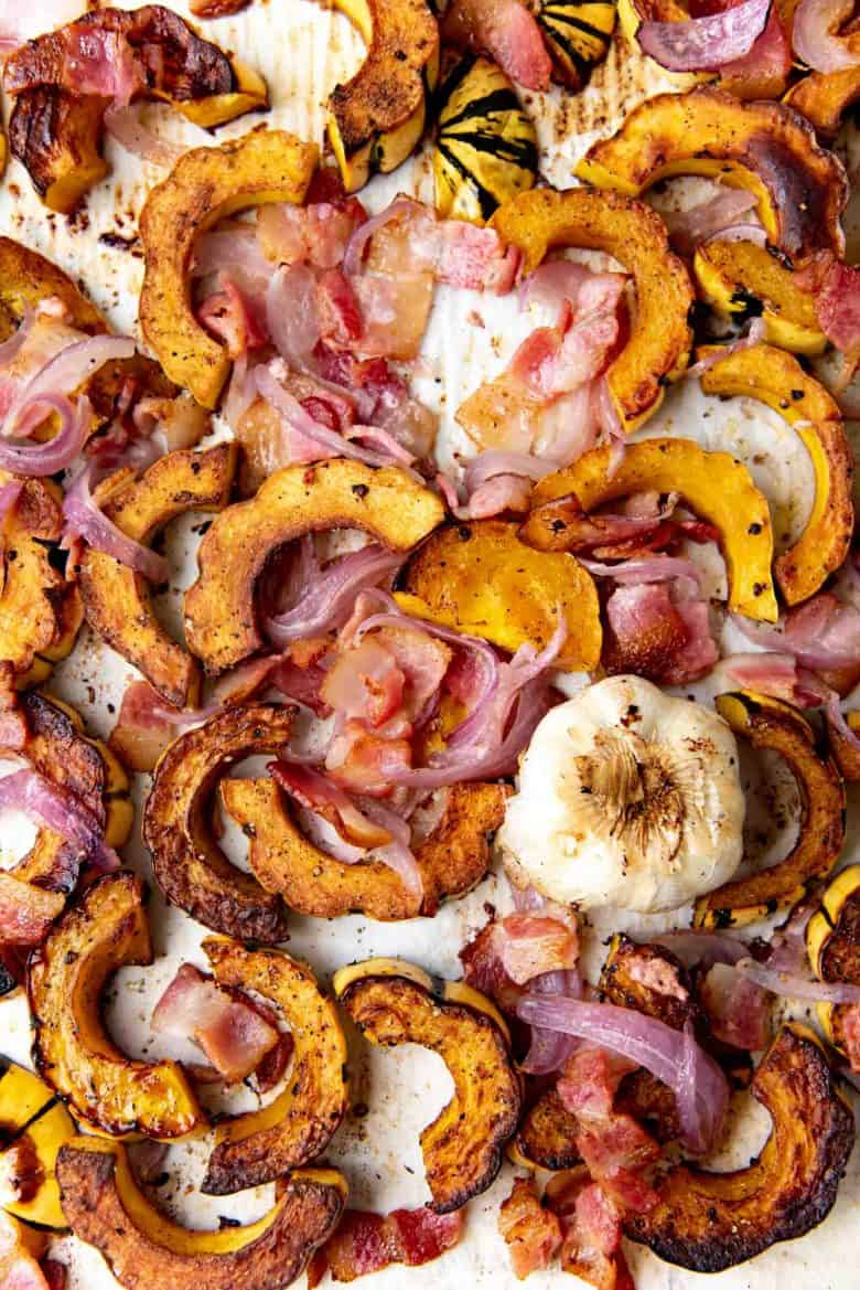 Overhead view of the roasted delicata squash with bacon