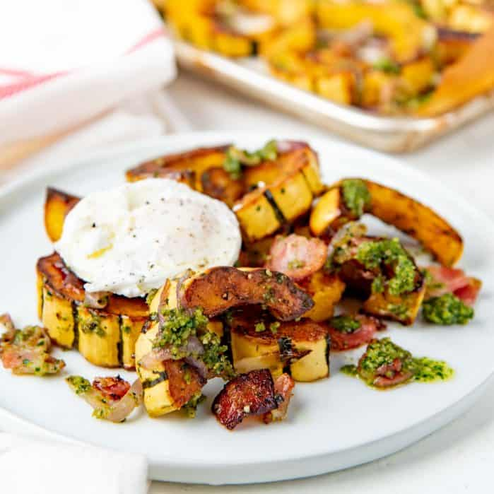 Roasted delicata squash with bacon Social media
