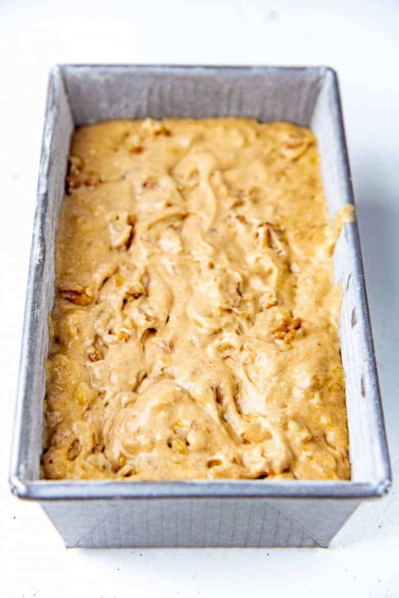 Banana bread batter in the loaf pan