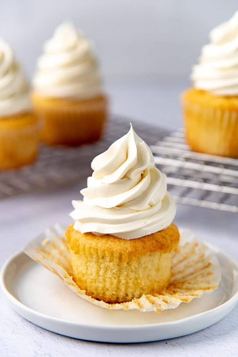 Closer look of the vanilla cupcake with swiss meringue buttercream frosting