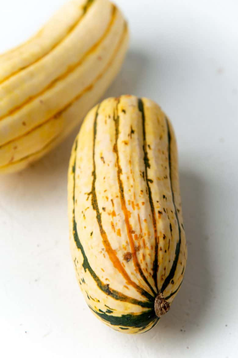 Angled view of delicata squash
