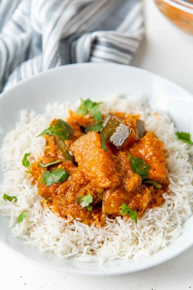Pumpkin curry served on a bed of rice