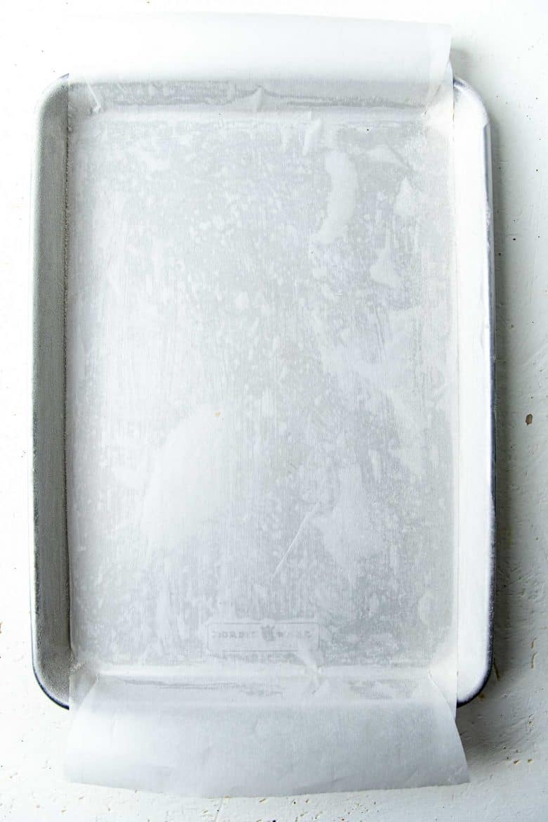 Swiss roll prepared jelly pan with parchment paper