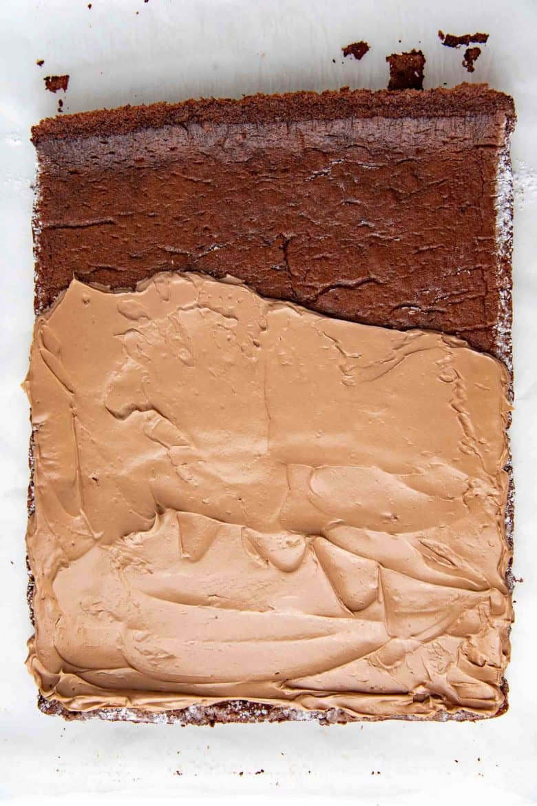 Spreading chocolate buttercream on cooled down cake sheet