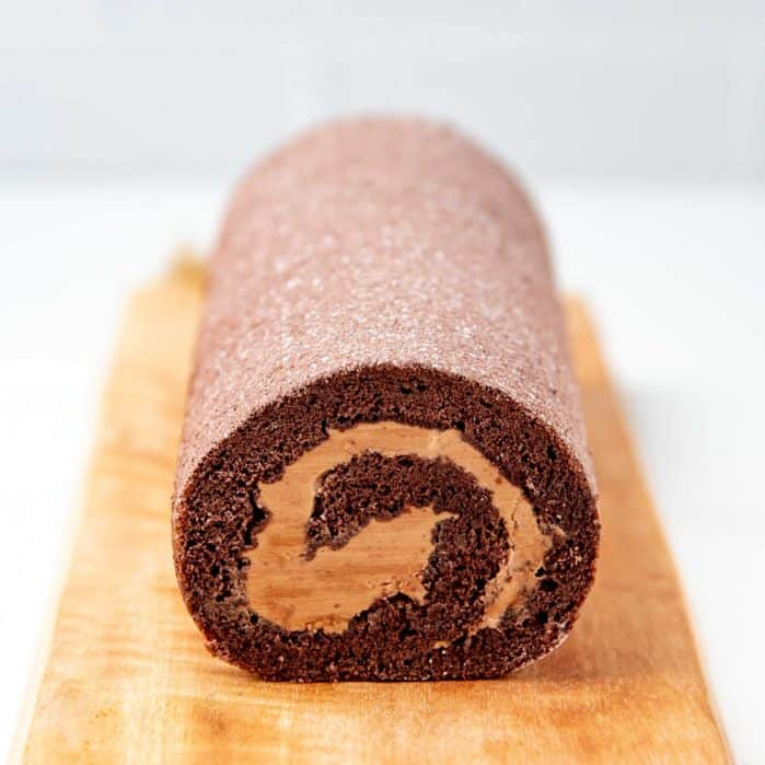 Chocolate swiss roll social media
