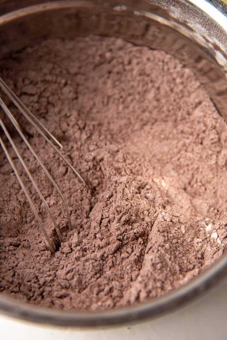 The flour and cocoa powder sifted together