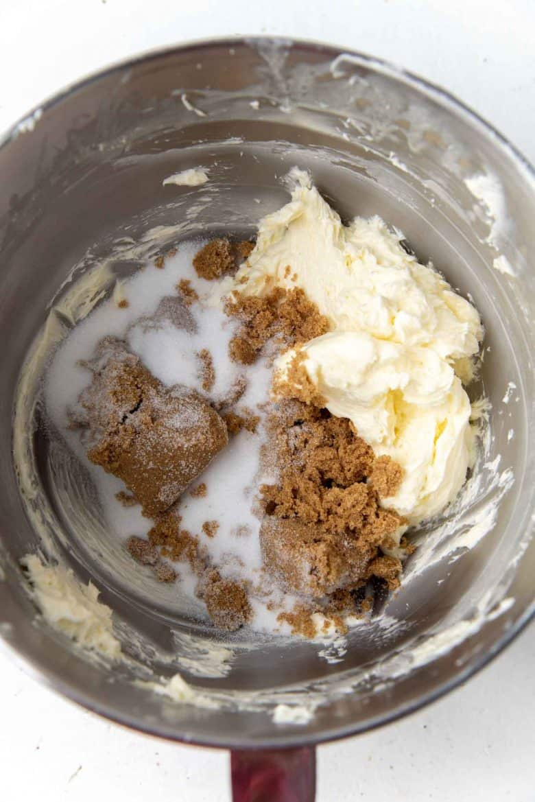 Creamed butter with sugar in a mixing bowl