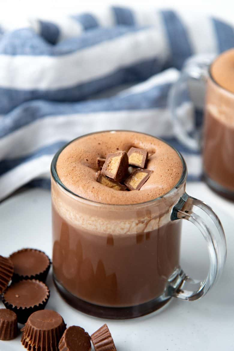 A close up of a PB hot chocolate drink