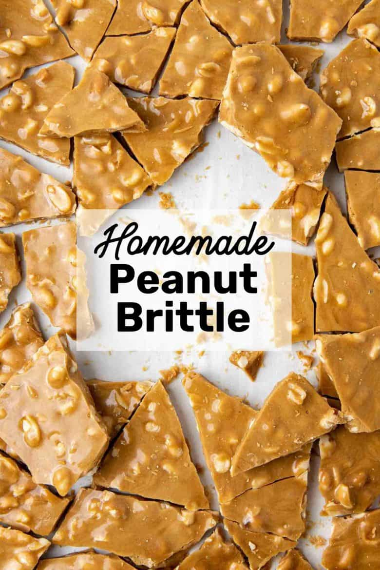 Homemade peanut brittle on a baking tray
