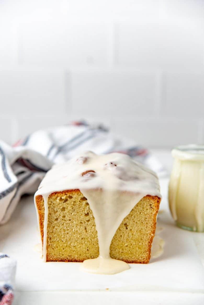 Eggnog glaze topped eggnog cake