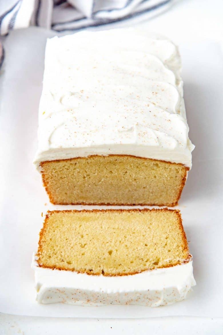 Overhead view of eggnog cake