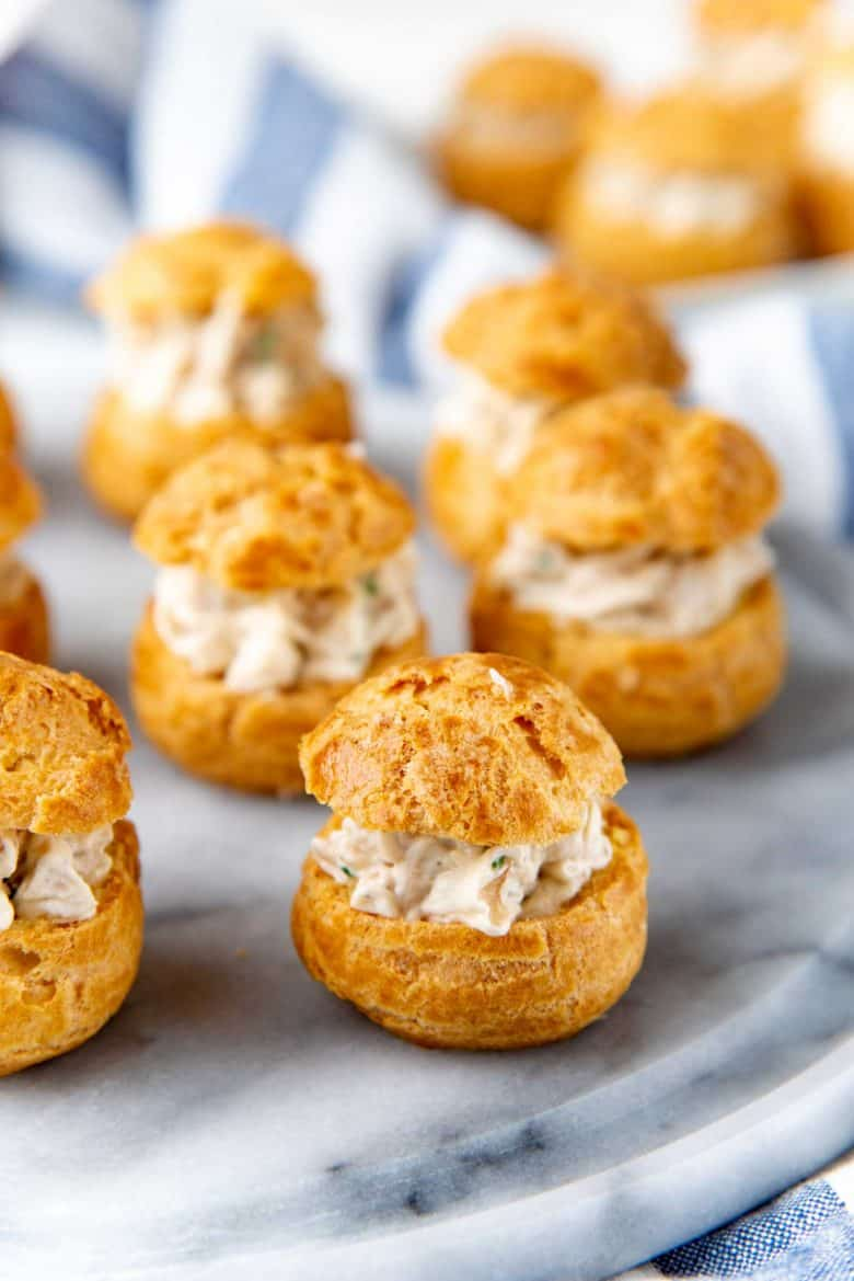 A close up of the chicken boucheese made with choux puffs