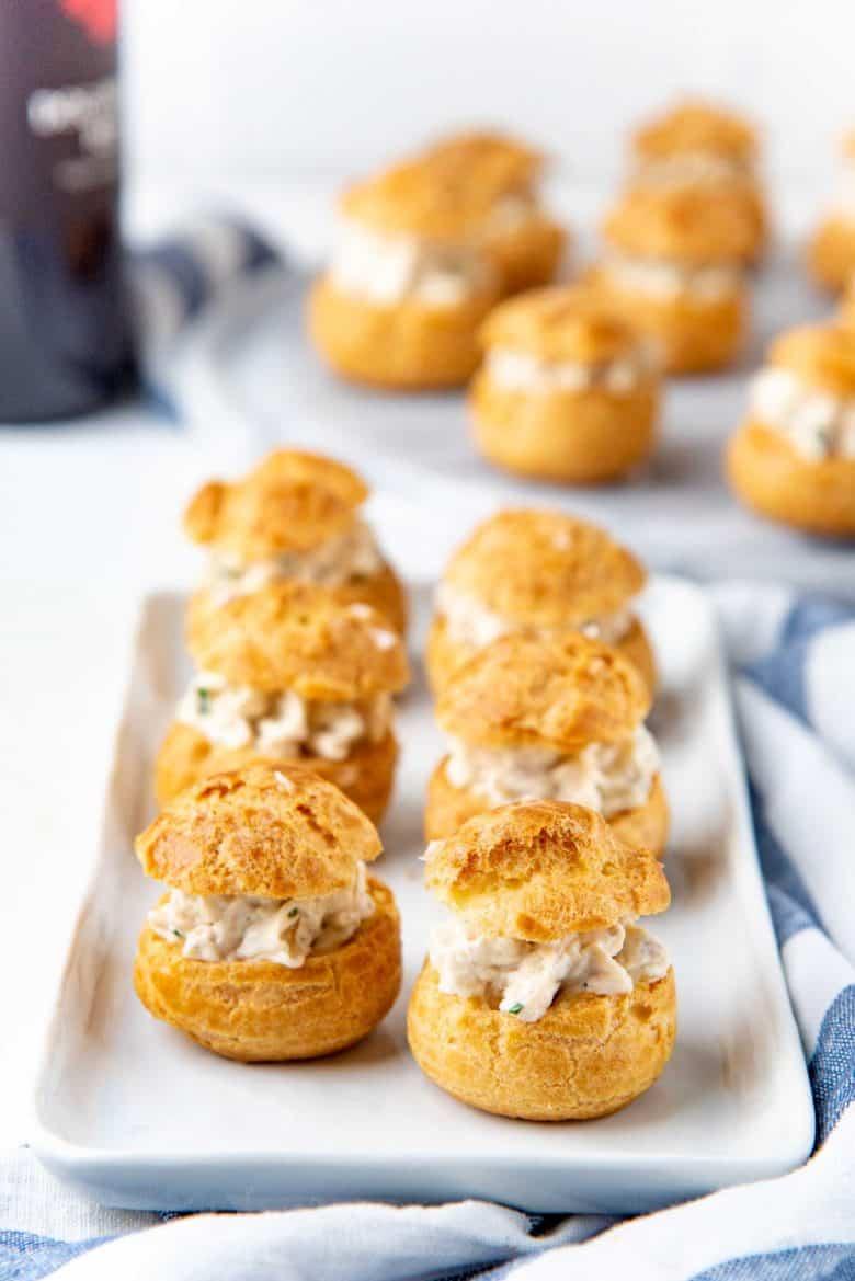 A platter of the chicken puffs