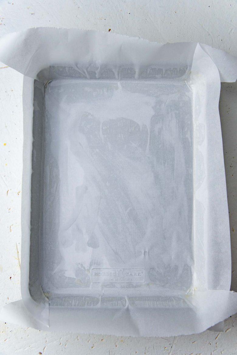 A parchment lined quarter sheet pan