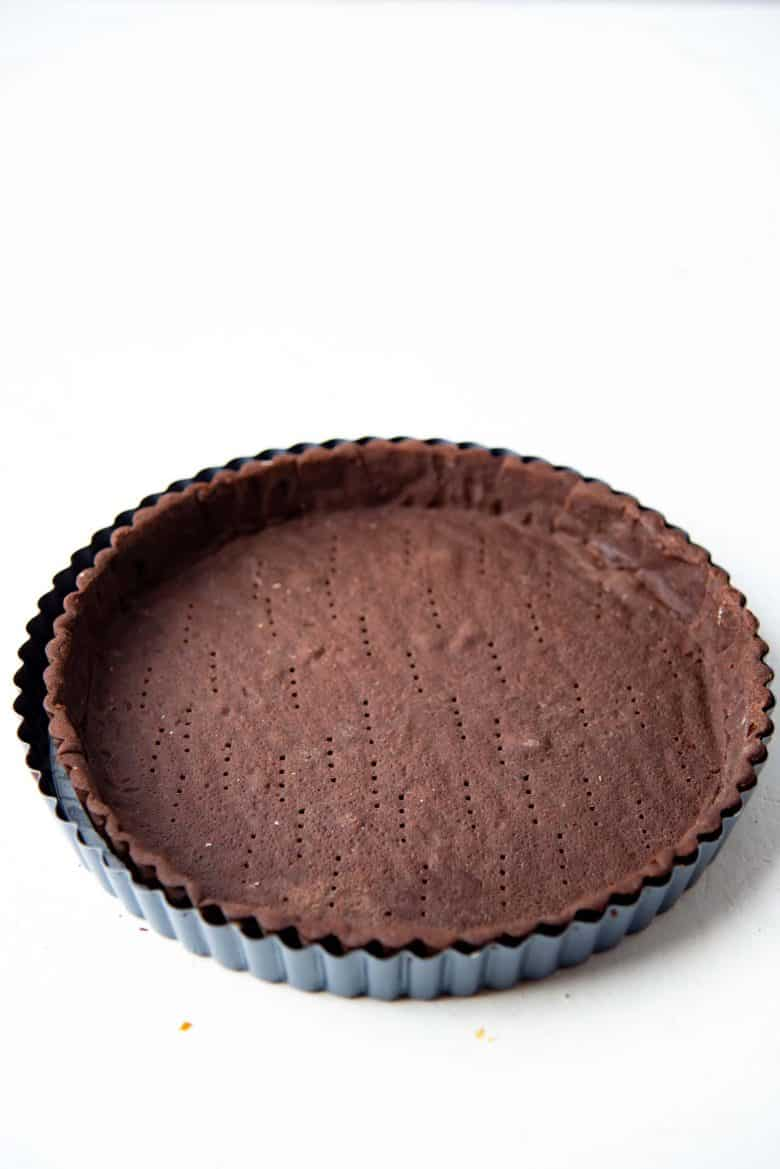 A baked chocolate pate sucree crust