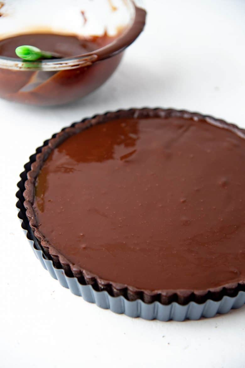 The chocolate ganache poured into the tart shell