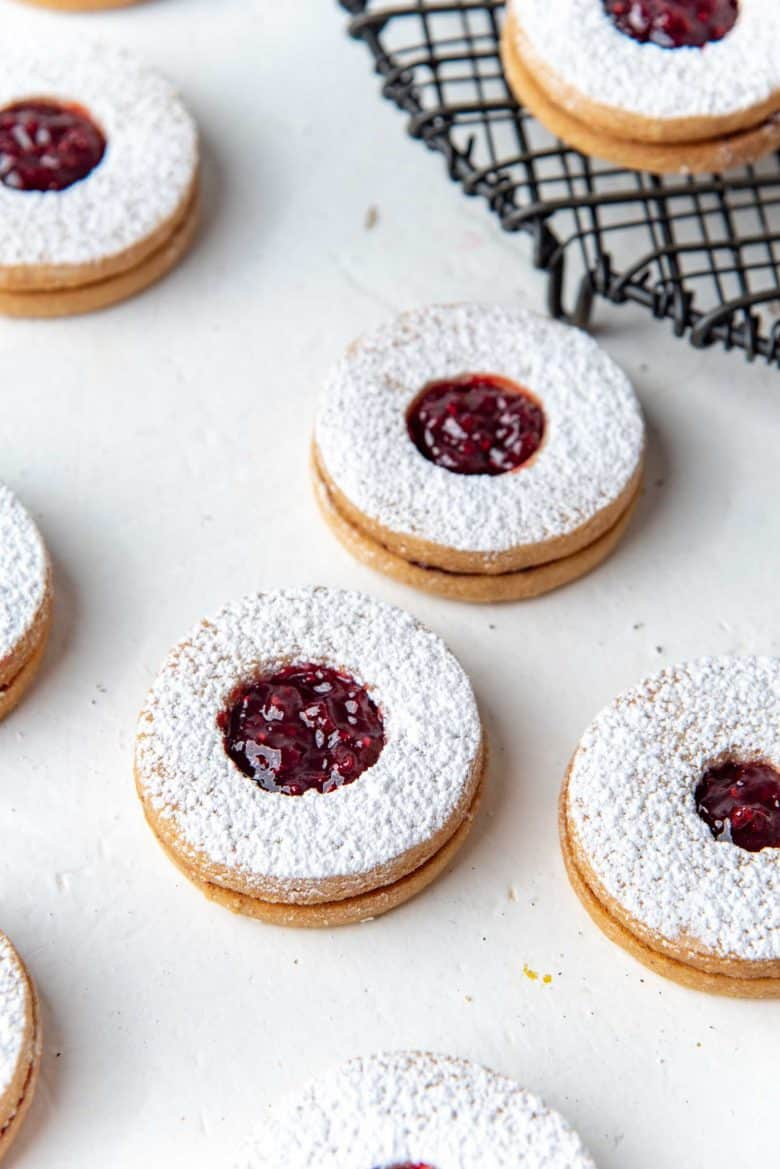 Sugar dusted raspberry jam filled cookies